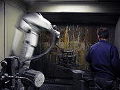 ロボットによる作業風景